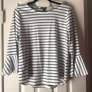 NWT J. Crew Mercantile striped bell sleeve top M
